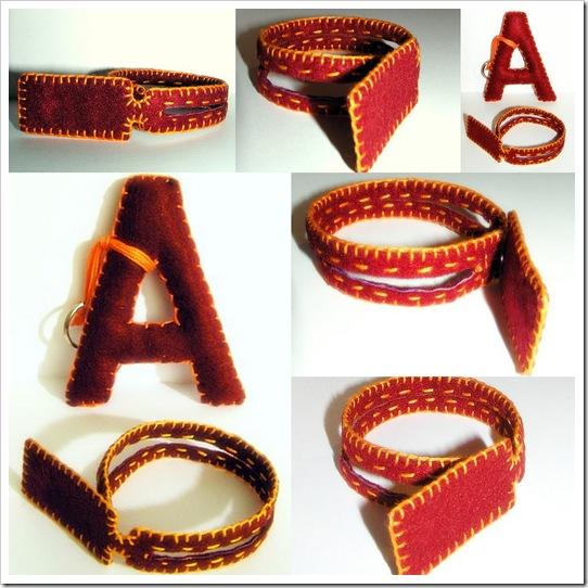 feltro, braccialetto e lettera-portachiavi