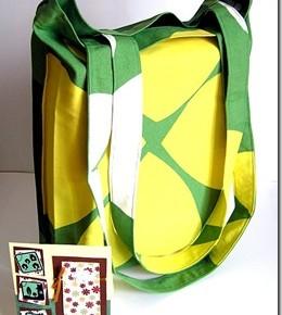 Una shopper bianca, verde e gialla, tutta per me!