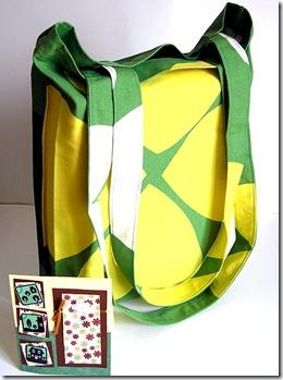 Shopper bianca-verde-gialla + card