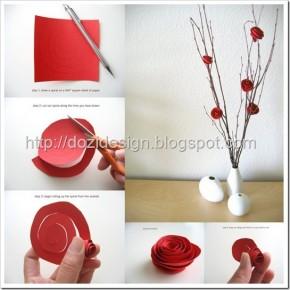 Lavoretti per la Festa della mamma: rose rosse di carta
