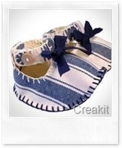 Baby Shoes DIY Kit - Blue Cotton - Le Scarpine di Sveva Creakit