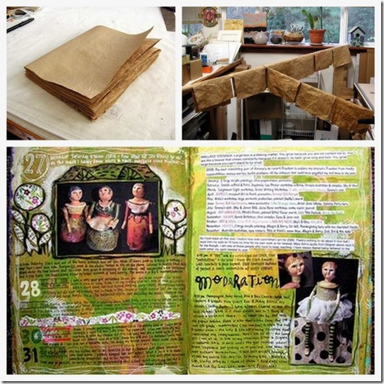 Art Journal riciclando i sacchetti del pane, un ottimo tutorial tradotto in italiano da Monica