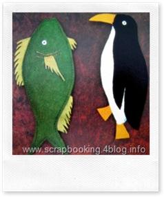 le presine in pannolenci a forma di pinguino e pesciolino