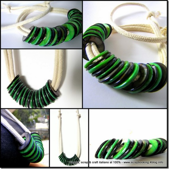Blue and Green Necklace - Cotton Rope and Mother of Pearl