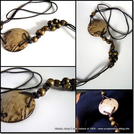 collane con cuoio e perle di legno