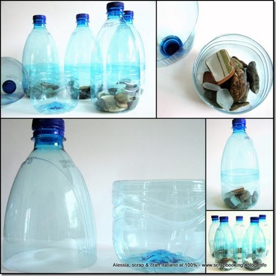 i birilli con i sassi di mare, riciclando le bottiglie di plastica