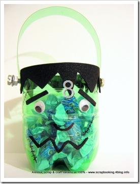 Halloween Candy Bowl riciclando bottiglie PET, Frankenstein