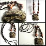 Ancora gioielli con cuoio e legno, una collana