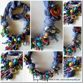 Collane con filati particolari e perline in legno, esperimento