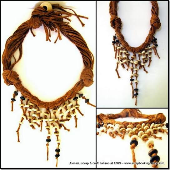 Natural coconut necklace, un'altra collana con filati particolari e perle di legno