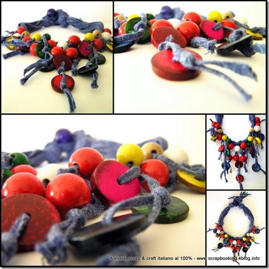 Colors Coconut Necklace, collana con filati particolari e legno