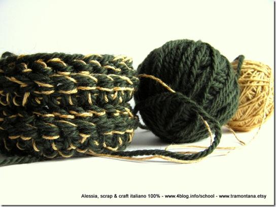 esperimenti: lavorare a crochet mescolando lana e altre fibre