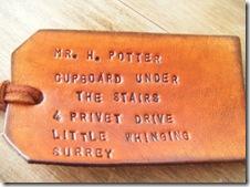 Mr. H. Potter, l'etichetta per i bagagli di Harry