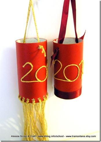 Decorazioni per la festa di capodanno: lanterne rosse riciclate