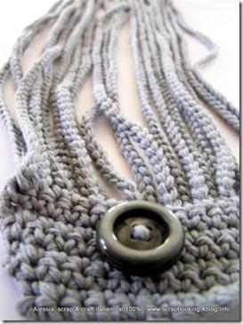 Collier scaldacollo all'uncinetto, grigio oppure azzurro
