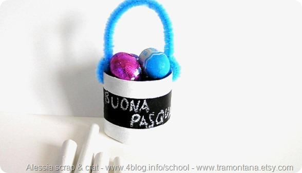 Lavoretti di Pasqua: il cestino portauova effetto lavagna