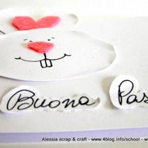 Lavoretti di Pasqua: coniglietto bianco e rosa