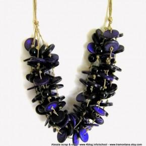Filo di lino color corda e viola intenso, nuova collana