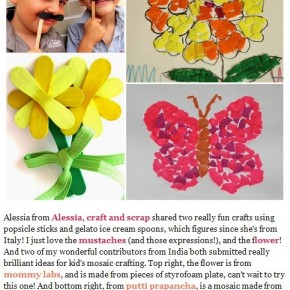 Stick flower e moustache su Craft Schooling Sunday