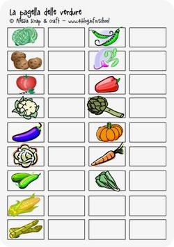 Giocare con i bambini: la pagella delle verdure