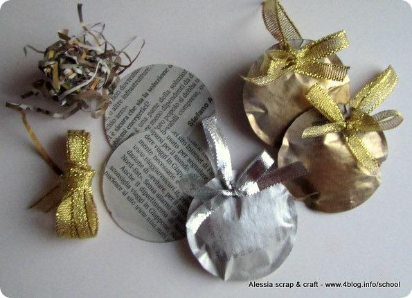 Decorazioni Natalizie Con Carta Di Giornale.50 Giorni A Natale Palline Di Carta Di Giornale Alessia Scrap