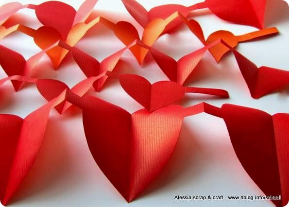 Le ghirlande di cuori di carta per san valentino alessia scrap craft - Decorazioni di san valentino ...