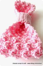 Crochet: un grande fiocco rosa a punto pois