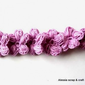 Braccialetto Porte-Bonheur: fiori a cinque petali e rosa-lilla