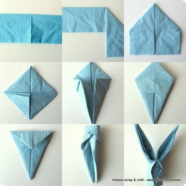 Coniglietti per la tavola di pasqua alessia scrap craft - Origami con servilletas ...