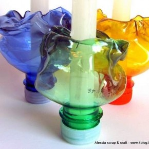 Tavola di Pasqua: portacandele plastica riciclata
