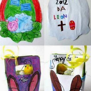 Lavoretti di Pasqua: l'uovo e il cesto portauova di Leon