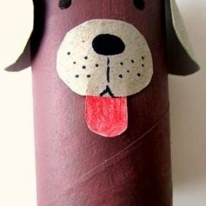 Lavoretti, zoo con i tubi di cartone: il cagnolino