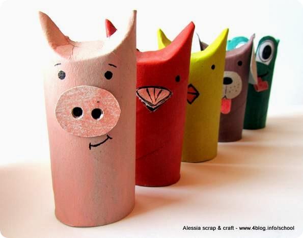 Lavoretti zoo con i tubi di cartone il maialino for Tubi cartone