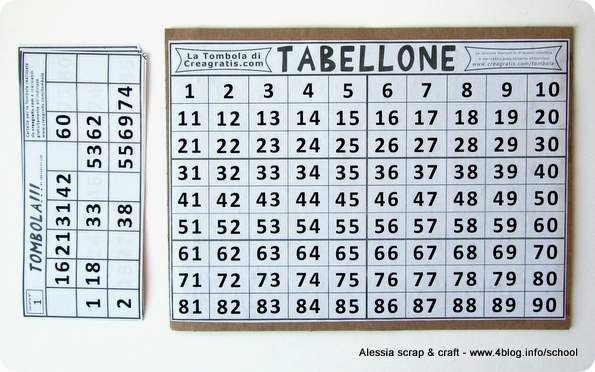 Ripassare le tabelline giocando la tombola delle for Tabellone tombola napoletana da stampare
