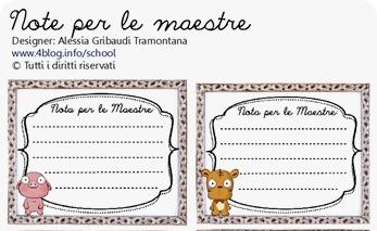 Ritorno a scuola: Note da stampare per le comunicazioni alle maestre