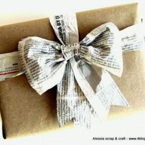 Countdown Natale: fiocchi di carta di giornale per pacchi speciali