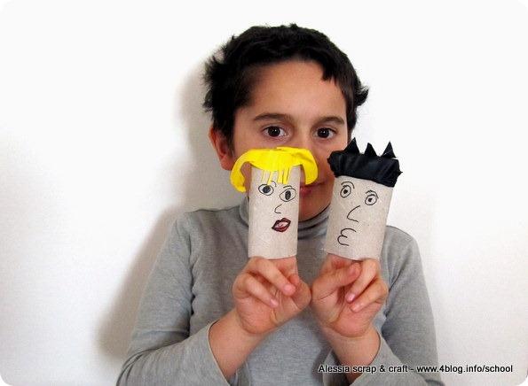 Lavoretti bambini: marionette da dita con tubi di cartone e palloncini scoppiati