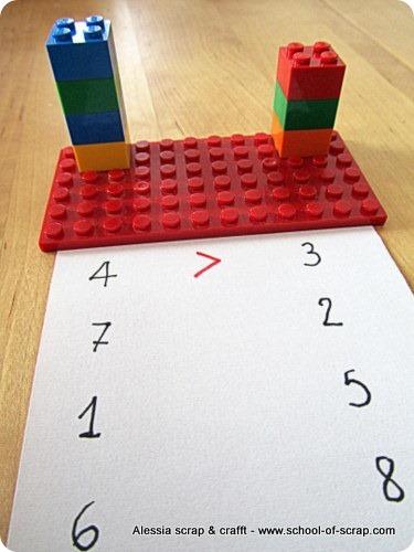 Impariamo matematica con i Lego: maggiore, minore, uguale per la prima elementare
