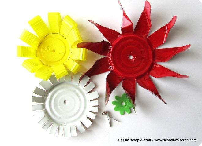 Eco Craft Tour: fiore girandola costruito con barattoli e lattine