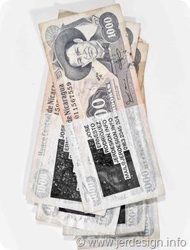 Biglietti da visita riciclando le banconote
