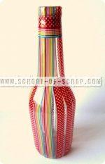 Idee con i Washi Tape: vaso decorato con una bottiglia riciclata