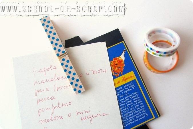 Lavoretti da #5minuti: fermacarte con molletta e washi tape