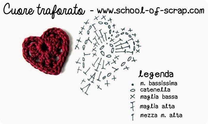 Scuola di uncinetto: cuore traforato a crochet