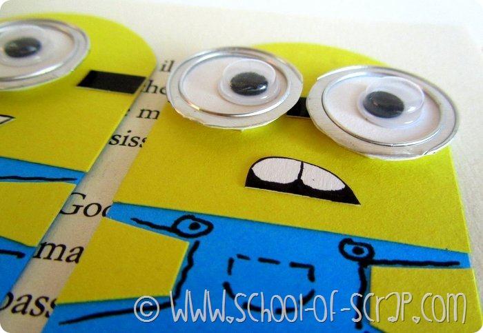 Regali fai da te: segnalibri dei Minions con occhialoni in rilievo