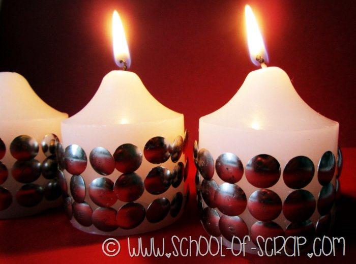 Decorazioni di capodanno fai da te candele con borchie - Decorazioni tavola capodanno fai da te ...