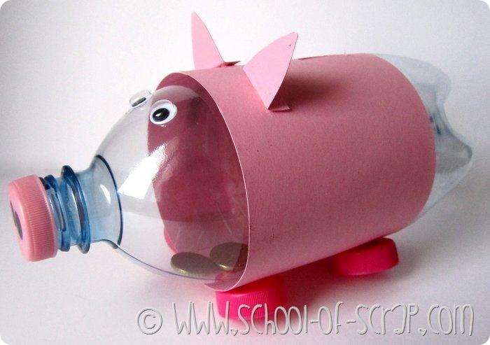 Lavoretti con i bambini: porcellino salvadanaio fai da te con una bottiglia