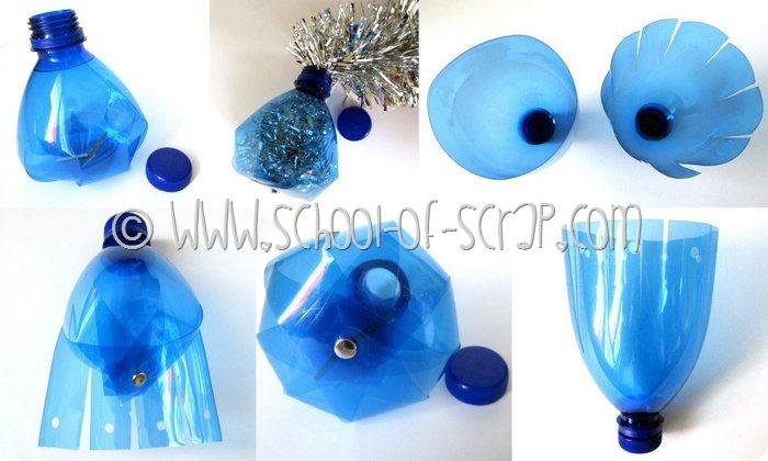 Bottiglie di plastica diventano palline per l albero di - Decorazioni natalizie con materiale riciclato ...