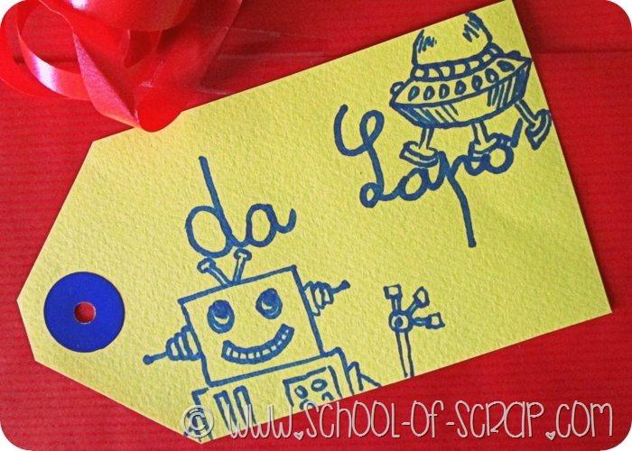 Per abbellire un pacchetto regalo basta una tag disegnata
