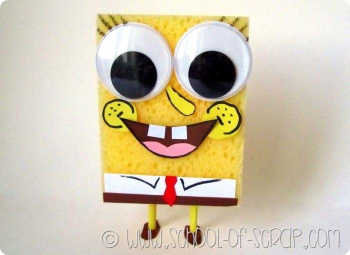 abbastanza Lavoretti: Spongebob fatto in casa con una spugnaAlessia, scrap  OS36