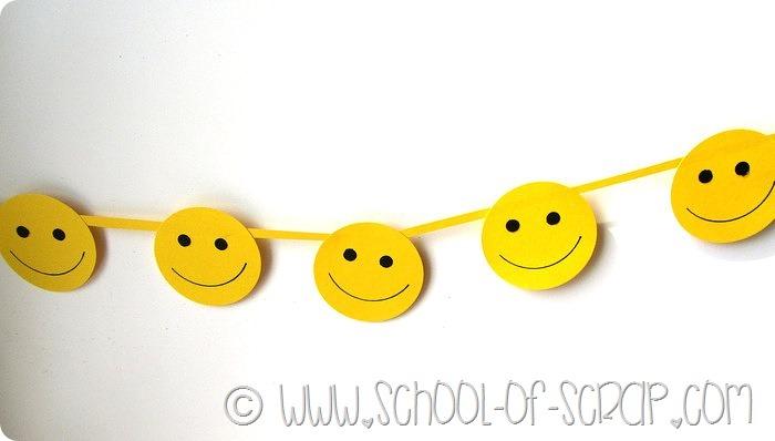 Lavoretti con i bambini: ghirlanda smiley per la giornata della felicità